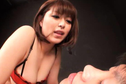 Marie momoka. Marie Momoka touches cock with feet and puts large cans on man face