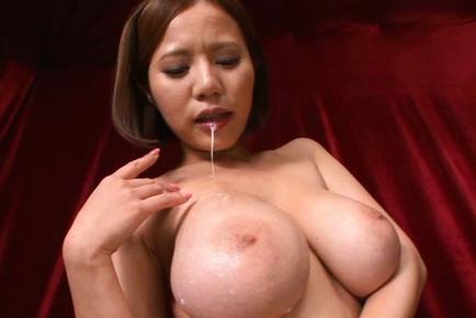 Ruri saijo. Ruri Saijo Asian pours cumshot on huge knockers after sucks boner