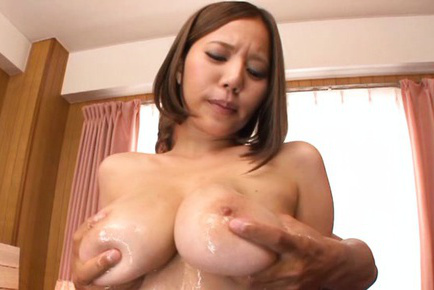 Ruri saijo. Ruri Saijo Asian has huge breasts fondled with oil