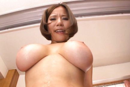 Ruri saijo. Ruri Saijo Asian with huge knockers has haired cunt oiled by guy