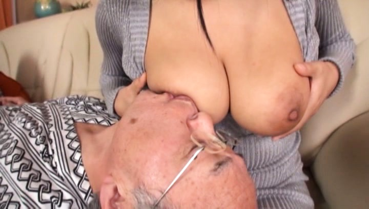 Japanese av model. Japanese AV Model has huge tits touched over sweater by old man