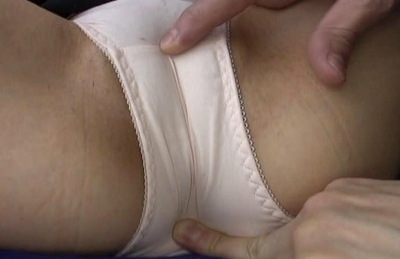Chisa Hoshijima rubbed while a guy sucks on her nipples